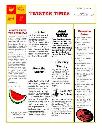 twister times - Prairie Winds Elementary - Pueblo School District 70