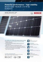 Powerful performance – high stability. Bosch Solar Module c-Si M 60 ...