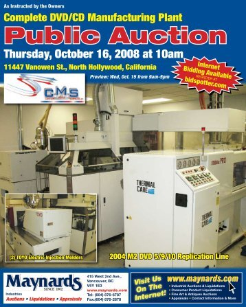 Public Auction - Maynards Industries