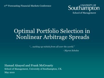 FFM - Optimal Portfolio Selection in Nonlinear Arbitrage Spreads