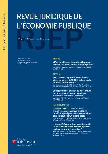 REVUE JURIDIQUE DE L'ÉCONOMIE PUBLIQUE - LexisNexis