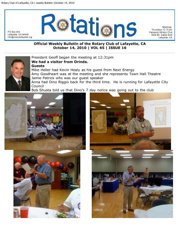 Rotary Club of Lafayette, CA | weekly Bulletin |October 14, 2010