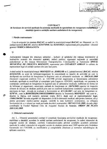 Contract CJAS pentru furnizarea de servicii ... - Spital Moinesti