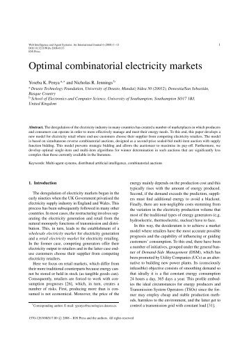 Optimal combinatorial electricity markets