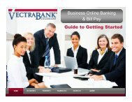Business Online Banking & Bill Pay Getting Started ... - Vectra Bank
