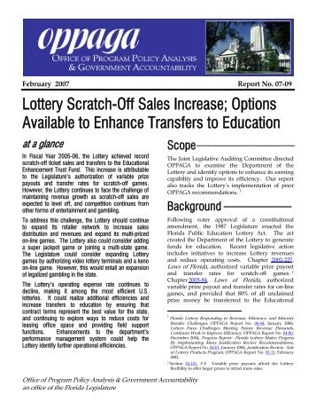 Lottery Scratch-Off Sales Increase; Options ... - Florida Monitor