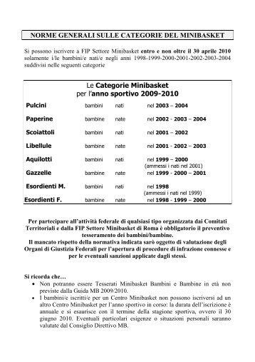 NORME GENERALI SULLE CATEGORIE DEL MINIBASKET Le ...