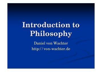 Introduction to Philosophy - Daniel von Wachter