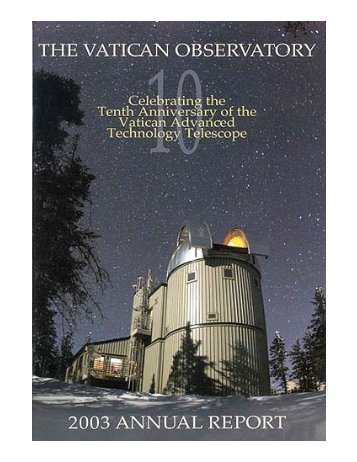 Annual Report 2003 - Vatican Observatory