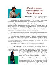 Our Ancestors: Peter Ruffner and Mary Steinman - Freepages