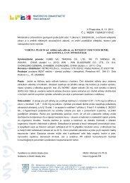 Informace Ministerstva zdravotnictví ČR o nebezpečných výrobcích