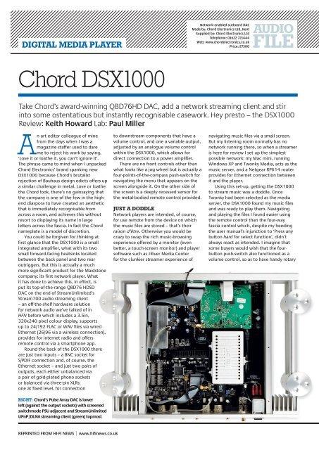 HFN_Chord DSX1000 pdf - Chord Electronics