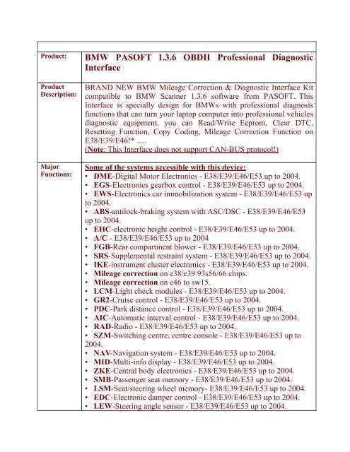 BMW PASOFT 1 3 6 OBDII Professional Diagnostic