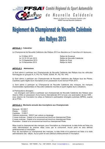Réglement Championnat de NC des rallyes 2013 - Rallye de ...