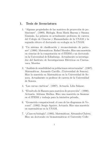 1. Tesis de licenciatura - Departamento de Matematicas
