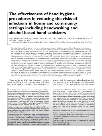 The effectiveness of hand hygiene procedures in reducing the risks ...