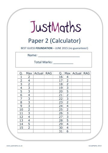 Mathematics A Paper 2 (Calculator) Foundation Tier