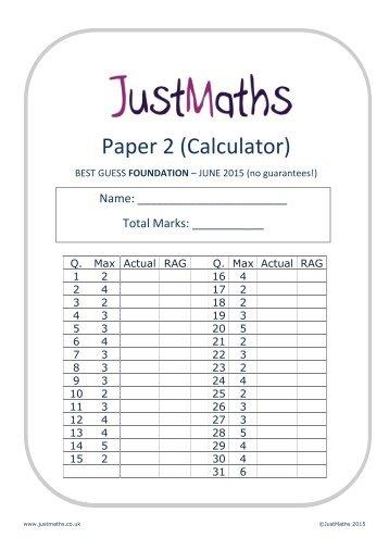 Mathematics A Paper 2 (Calculator) Foundation Tier