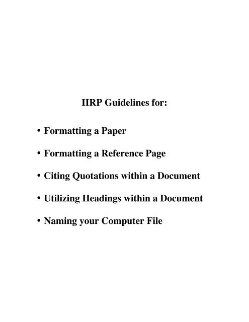 Paper Formatting Guidelines | Iirp Guidelines For Formatting A Paper Formatting A Reference