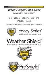 Wood Hinged Patio Door - Weather Shield