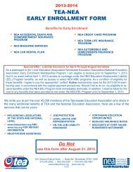 NEA Early Enrollment membership form - Tennessee Education ...