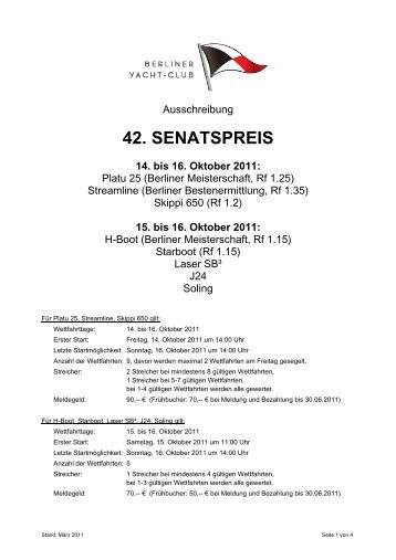 42. SENATSPREIS 14. bis 16. Oktober 2011 - Platu25.de