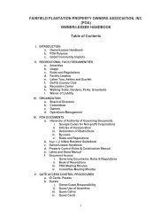 OWNER/LESSEE HANDBOOK Table of Contents - Fairfield Plantation