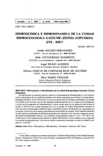 Hidroquimica e hidrodinamica de la Unidad ... - ingeba
