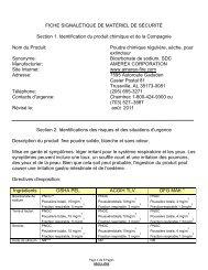 fiche signalétique de matériel de sécurité - Amerex Corporation