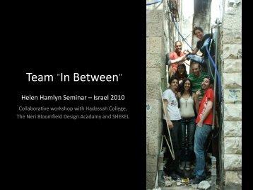 """Team """"In Between"""" - Helen Hamlyn Centre"""