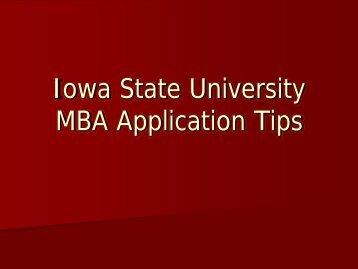 MBA Application Tips PPT - Iowa State University