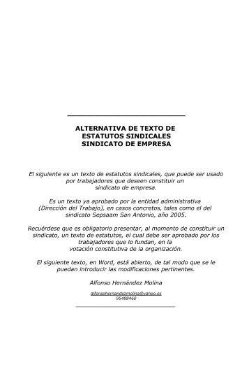 alternativa de estatutos de sindicato de empresa - Luis Emilio ...