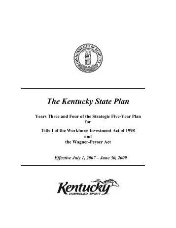 The Kentucky State Plan - Kentucky Workforce Investment Board