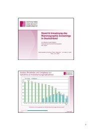 Umsetzung und Stand des Mammographie Screenings in Deutschland