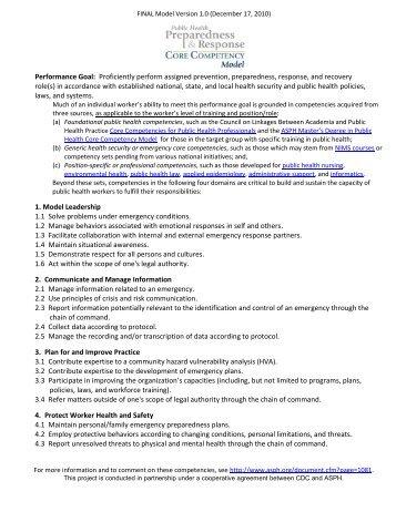 Public Health Preparedness and Response Core Competency Model