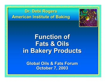 Function of Fats & Oils in Bakery Products - American Palm Oil Council