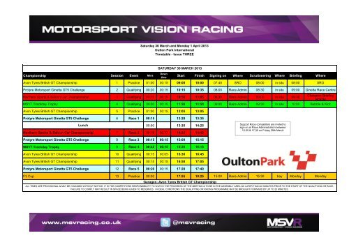 Timetable - MotorSport Vision Racing
