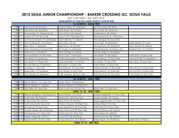 Day 2 Tee Times