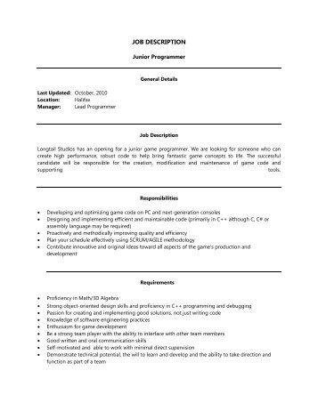 job description longtail studios - Job Description Of An Animator