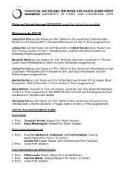 Preise und Auszeichnungen WS 2001/02 (soweit der Hochschule ...