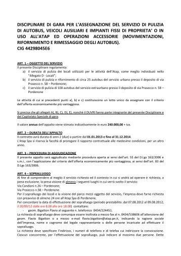 DISCIPLINARE DI GARA PER L'ASSEGNAZIONE DEL ... - Atap