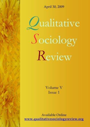 volume V is 1 - Qualitative Sociology Review