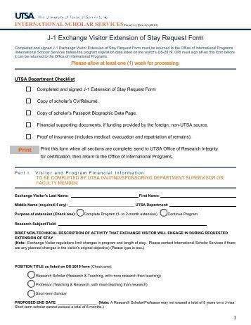 J 1 exchange visitor request form utsa international gateway - Office of international education gatech ...