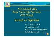 Açık Kaynak Kodlu Dergi Yayıncılığı Platformu Kurulumu ve