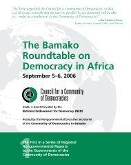 5-6 September, 2006: African Regional Roundtable, Bamako, Mali