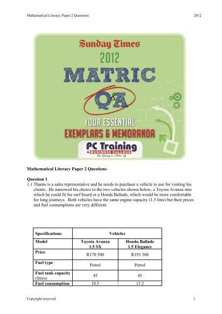 mathematical literacy grade 12 exam papers november 2012