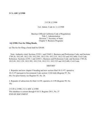 Business Programs  California Secretary of State