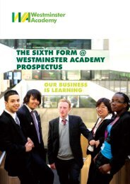 THE SIXTH FORM @ WESTMINSTER ACADEMY PROSPECTUS