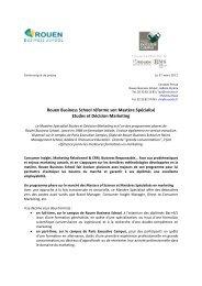 Rouen Business School réforme son Mastère Spécialisé Etudes et ...