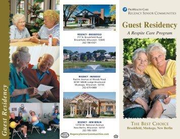Guest Residency - Regency Senior Communities